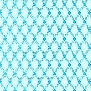 1830s Medium Aqua Sprigs Dots