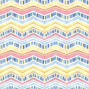 Yellow, pink, blue Zig Zag