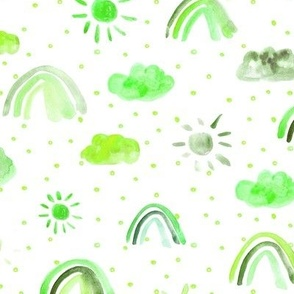 Chartreose green One happy day - watercolor rainbows sun clouds with dots - sunshine sky for nursery kids baby p317