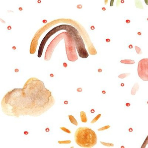 One happy day in rust and earthy colors - watercolor rainbows sun clouds with dots - sunshine sky for nursery kids baby
