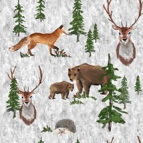 Forest Friends Adventure with Bears, Fox, Deer & Hedgehog Grey MED