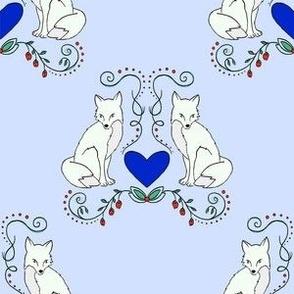 Fox & Heart - White Fox on Blue Lavender