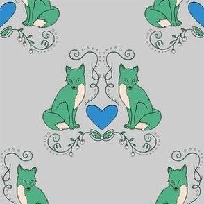Fox & Heart - Kelly Green Fox on Gray