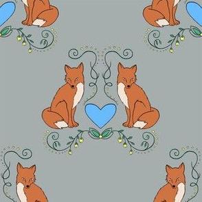 Fox & Heart - Brown Fox on Gray