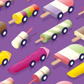 Isometric icecream Cars - Lilac