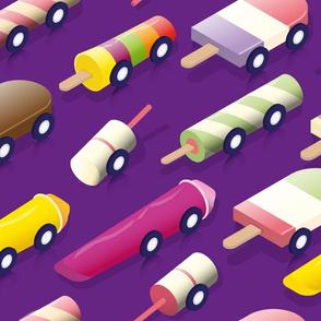 Isometric icecream Cars - Purple