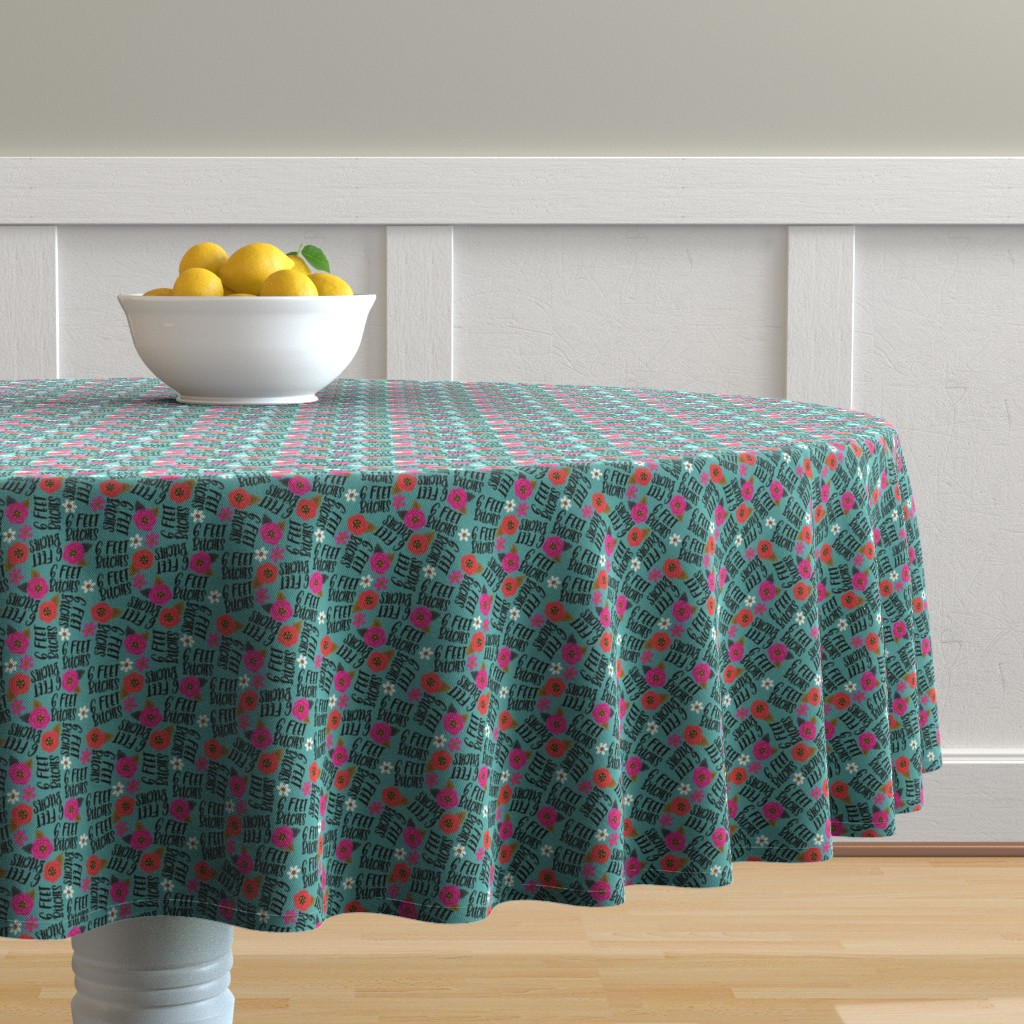 Malay Round Tablecloth featuring Teeny- 6 feet bitches by cynthiafrenette