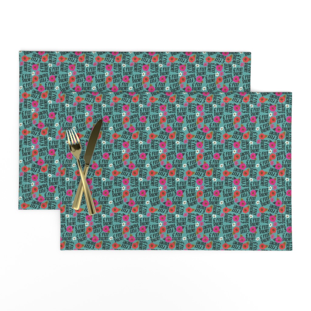 Lamona Cloth Placemats featuring Teeny- 6 feet bitches by cynthiafrenette