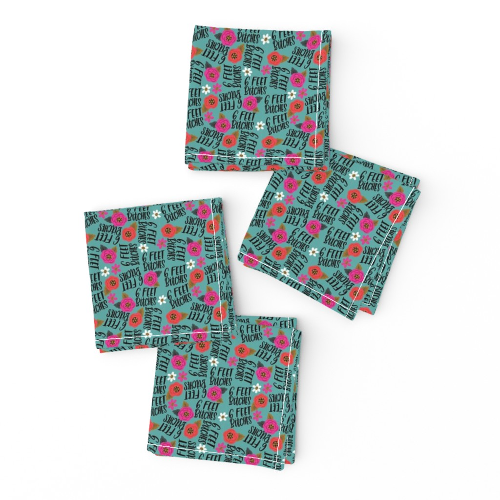 Frizzle Cocktail Napkins featuring Teeny- 6 feet bitches by cynthiafrenette
