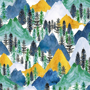 The Mountains Call in Indigo, Forest Green and Gold - Medium Large