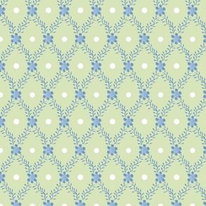 1830s Grande Blue on Sage Sprigs Dots