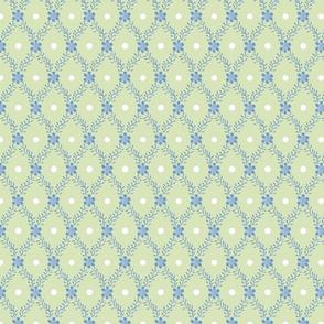 1830s Medium Blue on Sage Sprigs Dots