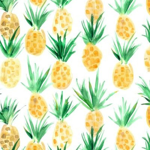 Wild pineapples - watercolor tropical pineapple fruit for summer