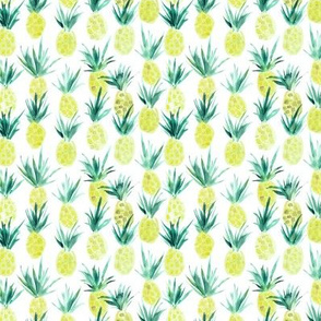 Tiny Wild pineapples - watercolor tropical pineapple fruit for summer