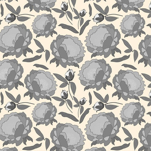 Peony Profusion! Greyscale on cream, medium
