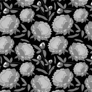 Peony Profusion! Greyscale on black, medium