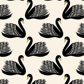 linocut swan fabric - art deco modern bird wallpaper - cream