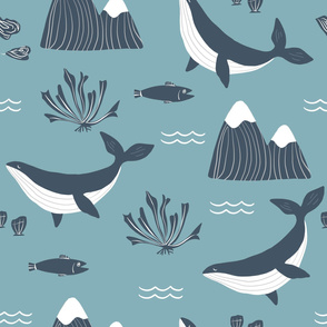 Blue and Pink Whales Pacific Northwest Seamless Repeat Vector Pattern