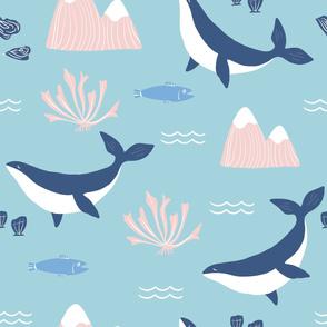 Blue Whale Ocean Pattern