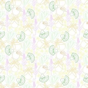 citrus and floral line art