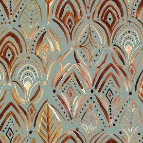 Boho medallion scallop - copper   teal