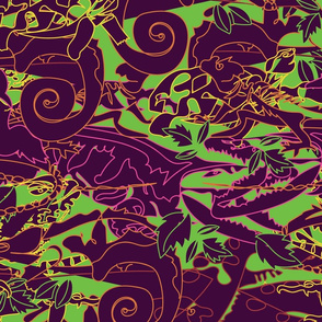 Abstract Coordinate for Brightly Colored Reptiles // Neon Crocs, Snakes and Turtles