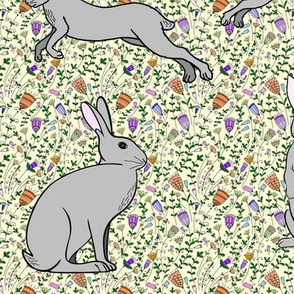 Hares Among Wildflowers