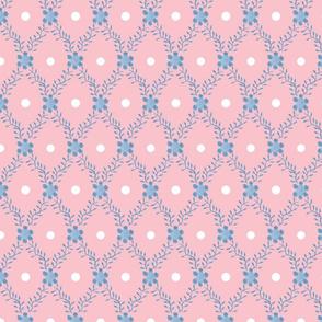 1830s Grande Blue on Rose Sprigs Dots