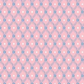 1830s Medium Blue on Rose Sprigs Dots
