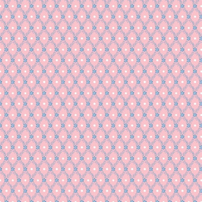 1830s Petite Blue on Rose Sprigs Dots