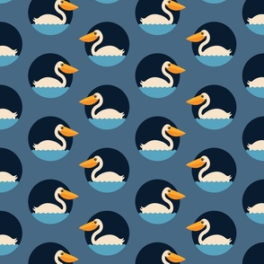 Pelican jumbo dots retro nautical Fabric