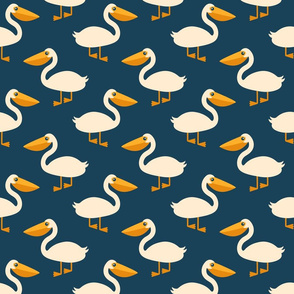 Retro Pelicans repeat pattern nautical navy Fabric