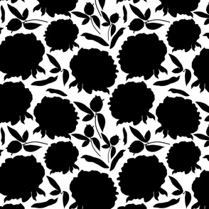 Peony Profusion! Black silhouettes on white, medium