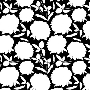 Peony Profusion! White silhouettes on black, medium