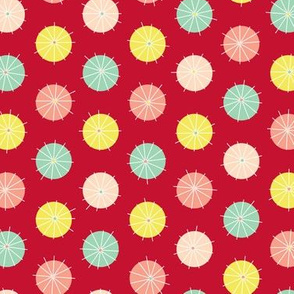 Cocktail Umbrellas Polka Dot (Red)