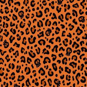 ★ SKULLS x LEOPARD ★ Halloween Pumpkin Orange - Small Scale / Collection : Leopard Spots variations – Punk Rock Animal Prints 3