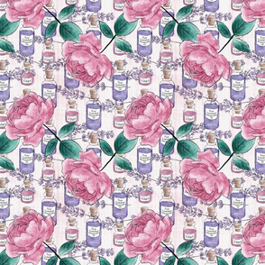 Aromatherapy rose and lavender digital watercolour