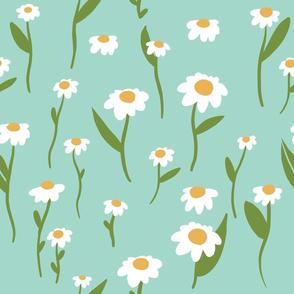 Teal Daisy Flower Pattern