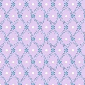 1830s Grande Blue on Lavender Sprigs Dots Flowers