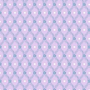 1830s Medium Blue on Lavender Sprigs Dots Flowers