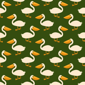 White pelicans army green retro nautical Fabric