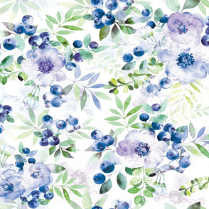 Watercolor blueberry and flowers bouquets
