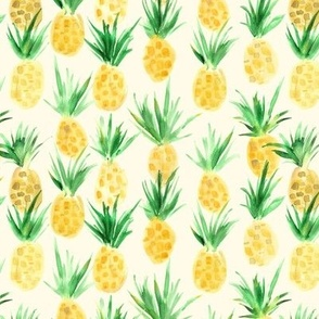 Wild pineapples - watercolor tropical pineapple fruit for summer p318
