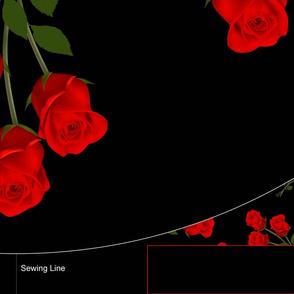 Large Roses on Black Background Dress Half-Round 4.5 waist 30 length