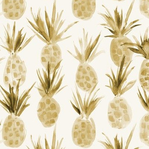 Earthy boho Wild pineapples - watercolor tropical pineapple fruit for summer 318