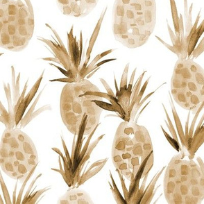 Wild earthy boho pineapples - watercolor tropical pineapple fruit for summer