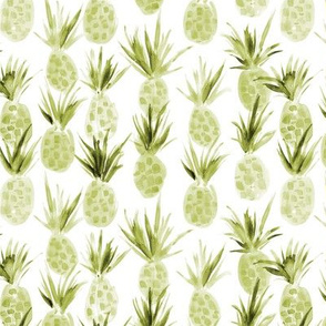 Olive green Wild pineapples - watercolor tropical pineapple fruit for summer 318