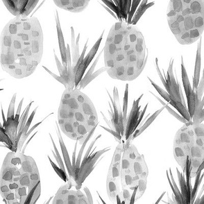 Wild pineapples in tones of grey - watercolor tropical pineapple fruit for summer