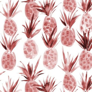Wild burgundy pineapples - watercolor tropical pineapple fruit for summer