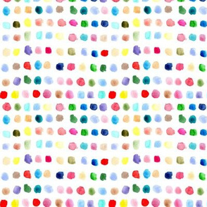 Rainbow watercolor spots - small scale ditsy painted colorful stains for modern nursery_ kids_ baby